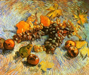 Famous paintings of Apples: Still Life With Apples Pears Lemons And Grapes