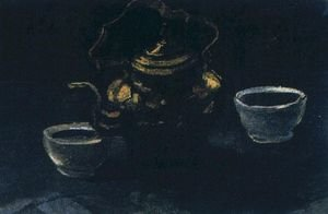 Famous paintings of Tea: Still Life With Copper Coffeepot And Two White Bowls
