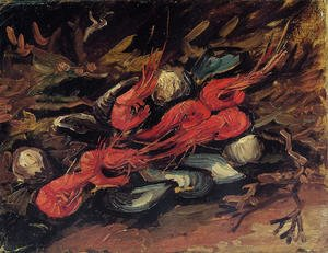 Famous paintings of Fish and Seafood: Still Life With Mussels And Shrimps