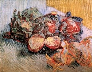 Famous paintings of Vegetables: Still Life With Red Cabbages And Onions