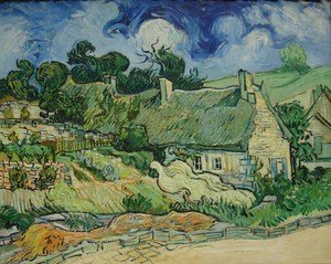 Famous paintings of Clouds & Skyscapes: Thatched Cottages At Cordeville