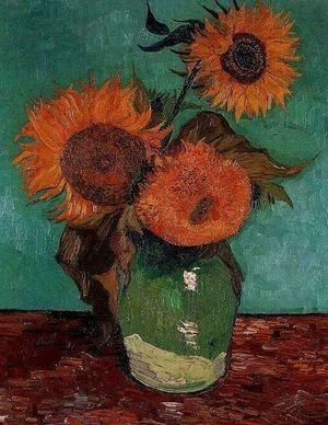 Reproduction oil paintings - Vincent Van Gogh - Three Sunflowers In A Vase