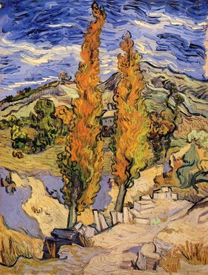 Famous paintings of Trees: Two Poplars On A Road Through The Hills