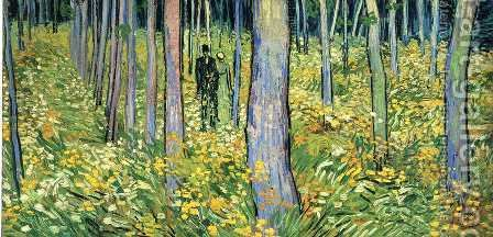 Undergrowth With Two Figures by Vincent Van Gogh - Reproduction Oil Painting