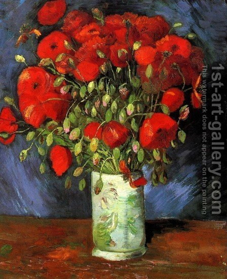 Vincent Van Gogh: Vase With Red Poppies - reproduction oil painting