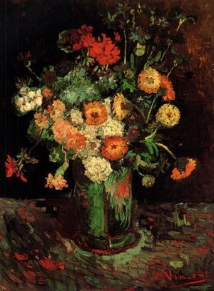 Reproduction oil paintings - Vincent Van Gogh - Vase With Zinnias And Geraniums