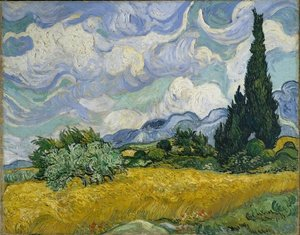 Famous paintings of Clouds & Skyscapes: Wheat Field With Cypresses At The Haute Galline Near Eygalieres