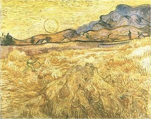 Reproduction oil paintings - Vincent Van Gogh - Wheat Field With Reaper And Sun
