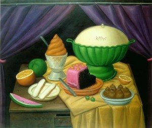 Famous paintings of Desserts: Still Life With Ice Cream Helado