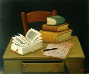 Famous paintings of Furniture: Still Life With Books Naturaleza Muerta Con Libros
