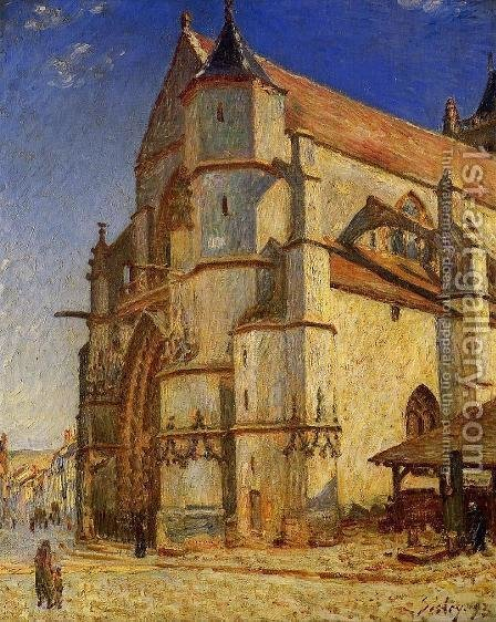 The Church At Moret In Morning Sun by Alfred Sisley - Reproduction Oil Painting