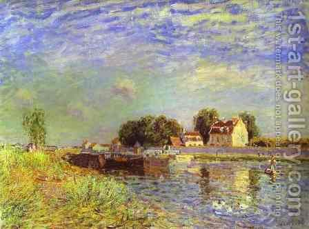 The Canal Du Loing At St Mammes by Alfred Sisley - Reproduction Oil Painting