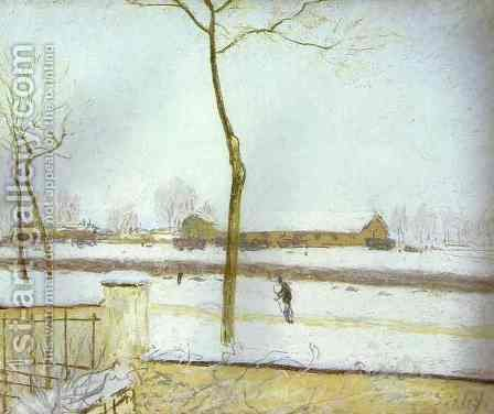 Snow Scene Moret Station by Alfred Sisley - Reproduction Oil Painting