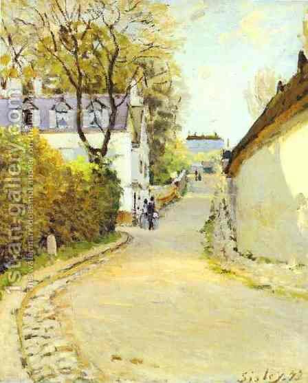 Rue De La Princesse Louveciennes Formerly Street In Ville DAvray by Alfred Sisley - Reproduction Oil Painting
