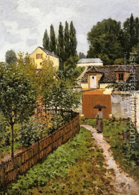 Alfred Sisley: Garden Path In Louveciennes - reproduction oil painting