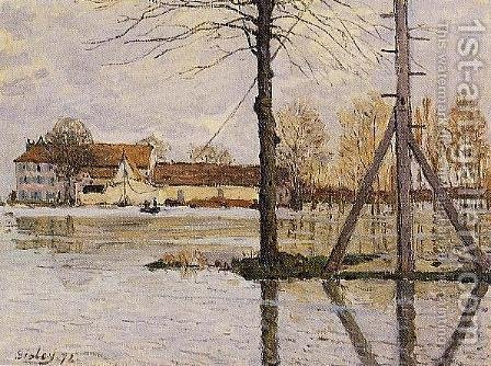 Ferry To The Ile De La Loge   Flood by Alfred Sisley - Reproduction Oil Painting