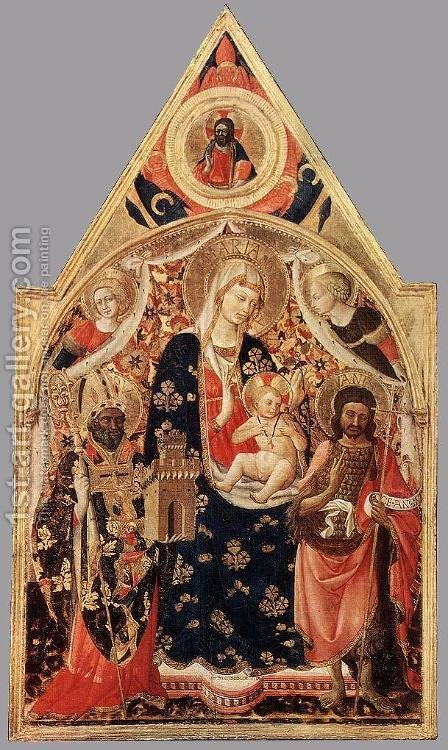 Madonna And Child With Saints 1400-50 by Andrea Bonaiuti da Da Firenze - Reproduction Oil Painting