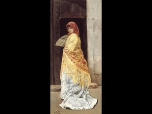 Famous paintings of Fans: The Yellow Shawl