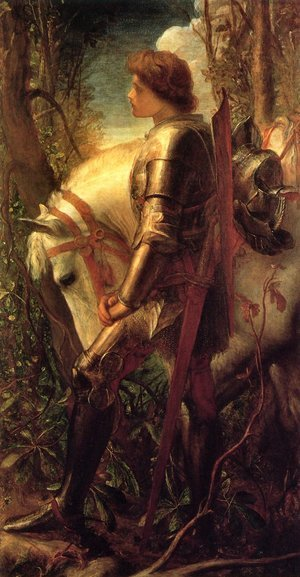Famous paintings of Horses & Horse Riding: Sir Galahad 1862