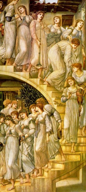Pre-Raphaelites painting reproductions: The Golden Stairs 1872-80