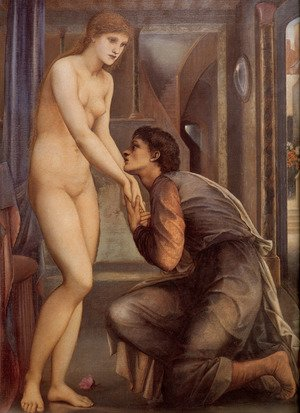 Pre-Raphaelites painting reproductions: Pygmalion And The Image: IV   The Soul Attains [detail]
