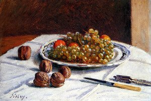Reproduction oil paintings - Alfred Sisley - Grapes And Walnuts On A Table