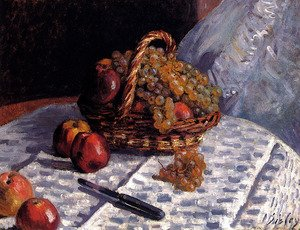 Reproduction oil paintings - Alfred Sisley - Still Life: Apples And Grapes
