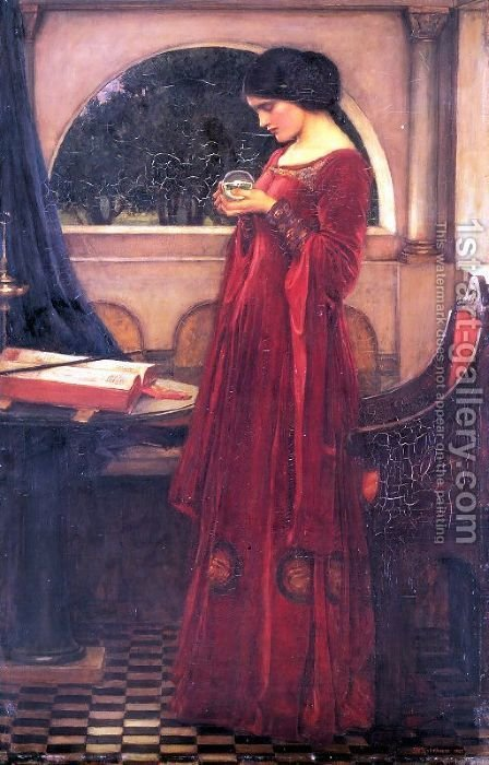 Crystal Ball by Waterhouse - Reproduction Oil Painting