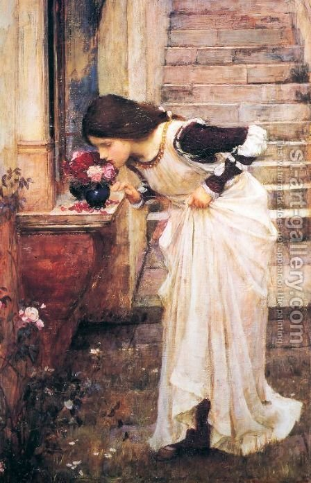 At The Shrine by Waterhouse - Reproduction Oil Painting