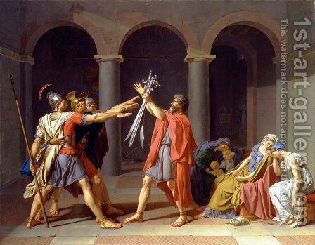 Jacques Louis David: The Oath of the Horatii 1784 - reproduction oil painting
