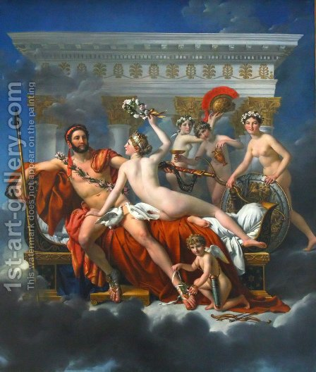 Jacques Louis David: Mars Disarmed by Venus and the Three Graces 1824 - reproduction oil painting