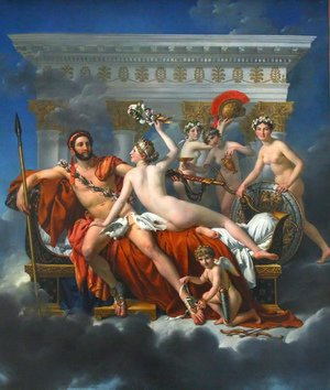 Reproduction oil paintings - Jacques Louis David - Mars Disarmed by Venus and the Three Graces 1824