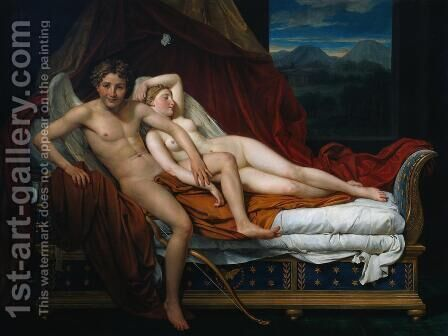 Jacques Louis David: Cupid and Psyche 1817 - reproduction oil painting