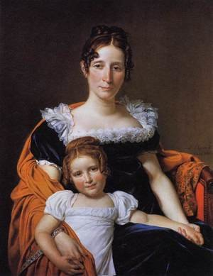 Reproduction oil paintings - Jacques Louis David - Portrait of the Comtesse Vilain XIIII and her Daughter 1816