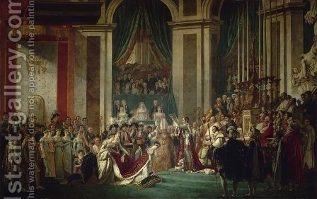 Jacques Louis David: Consecration of the Emperor Napoleon I and Coronation of the Empress Josephine 1805-07 - reproduction oil painting