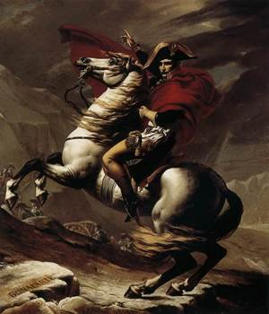 Famous paintings of Horses & Horse Riding: Bonaparte, Calm on a Fiery Steed, Crossing the Alps 1801