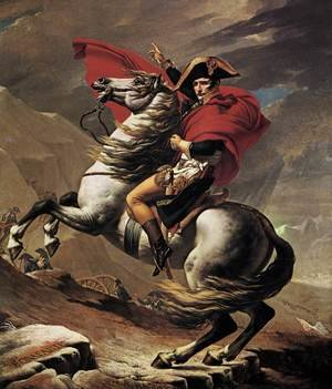 Famous paintings of Horses & Horse Riding: Napoleon at the St. Bernard Pass 1801