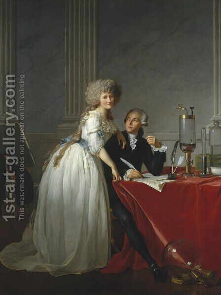 Jacques Louis David: Portrait of Antoine-Laurent and Marie-Anne Lavoisier 1788 - reproduction oil painting