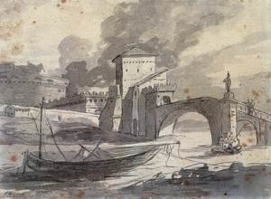 Reproduction oil paintings - Jacques Louis David - View of the Tiber and Castel St Angelo 1776-77