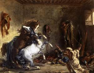 Famous paintings of Horses & Horse Riding: Arab Horses Fighting in a Stable 1860