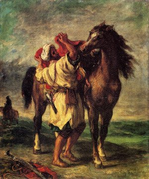 Famous paintings of Horses & Horse Riding: A Moroccan Saddling A Horse