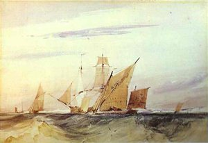 Famous paintings of Flood & High Tide: Shipping Off The Coast Of Kent