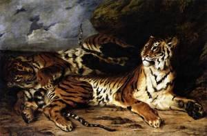 Romanticism painting reproductions: A Young Tiger Playing with its Mother 1830