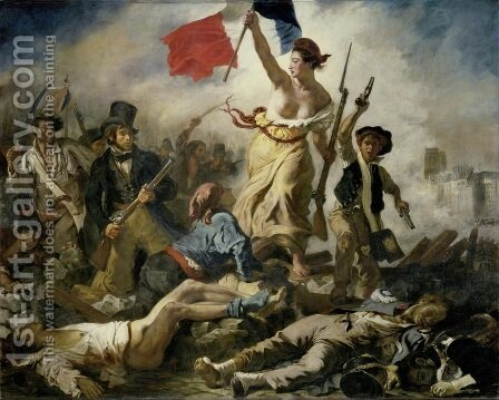 Eugene Delacroix: Liberty Leading the People (28th July 1830) 1830 - reproduction oil painting