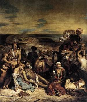 Famous paintings of Horses & Horse Riding: The Massacre at Chios (1) 1824