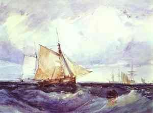 Famous paintings of Flood & High Tide: Cutter And Other Shipping In A Breeze