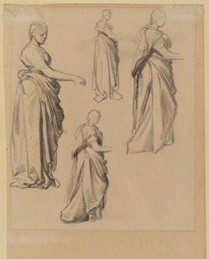 Pre-Raphaelites painting reproductions: Four Studies Of A Draped Female Figure
