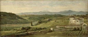 Pre-Raphaelites painting reproductions: Panoramic Landscape With A Farmhouse
