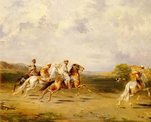 Famous paintings of Horses & Horse Riding: Arab Horsemen