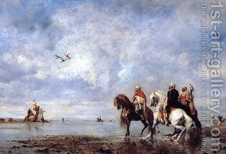 The Heron Hunt by Eugene Fromentin - Reproduction Oil Painting